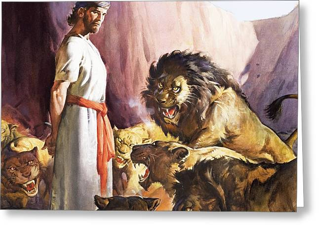 Daniel In The Lions' Den Greeting Card by James Edwin McConnell