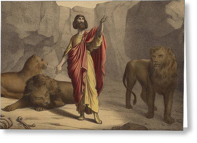 Religious Drawings Greeting Cards - Daniel in the Lions Den Greeting Card by Jean-Baptiste Auguste Leloir