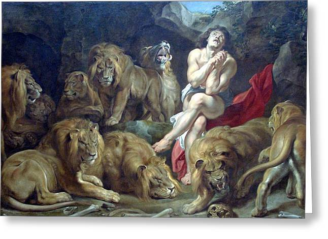 Christian Images Digital Greeting Cards - Daniel In The Lions Den Greeting Card by Peter Paul Rubens