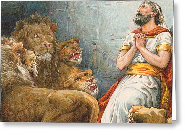 Daniel In The Lion's Den Greeting Card by Robert Ambrose Dudley