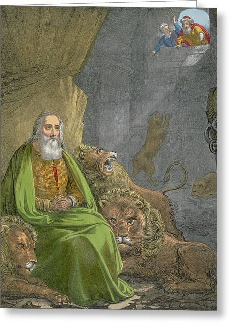 Religious Drawings Greeting Cards - Daniel in the Lions Den Greeting Card by Siegfried Detler Bendixen