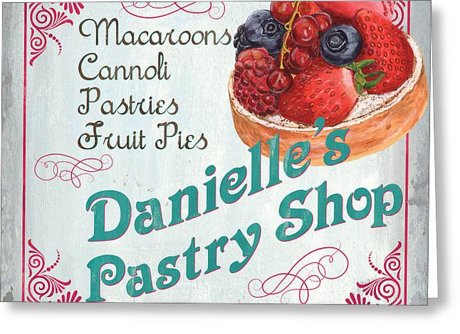 Pie Greeting Cards - Danielles Pastry Shop Greeting Card by Debbie DeWitt