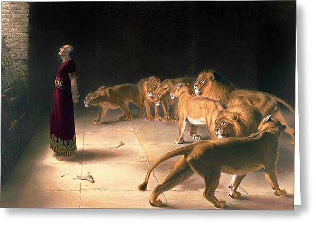Recently Sold -  - Lions Greeting Cards - Daniels Answer To The King Greeting Card by B Pratt