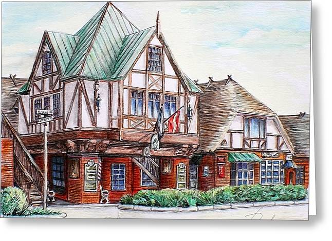 Wooden Building Drawings Greeting Cards - Danish Architecture in Solvang California Greeting Card by Danuta Bennett