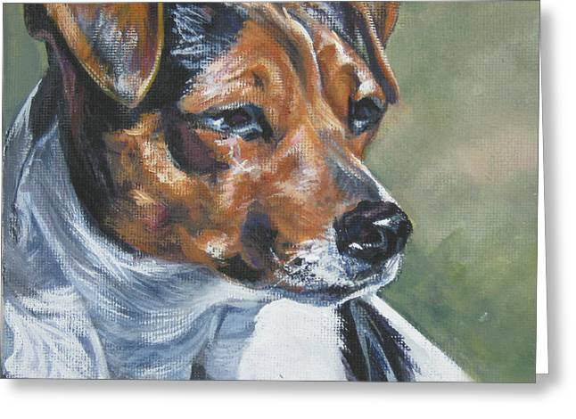 Puppies Paintings Greeting Cards - Danish Swedish Farmdog Greeting Card by Lee Ann Shepard