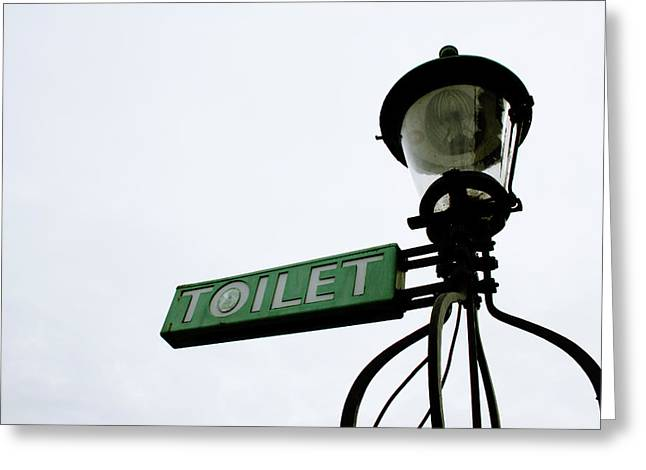 Street Art Greeting Cards - Danish Toilet Sign Greeting Card by Linda Woods