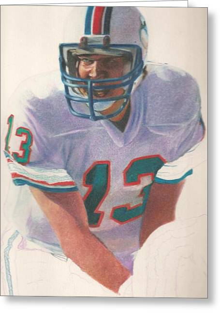 Miami Dolphins Drawings Greeting Cards - Danny Greeting Card by Darren  Chilton