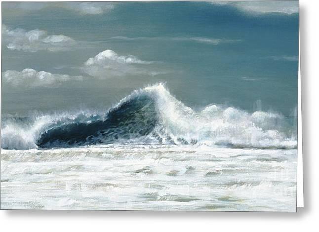 Ocean Panorama Paintings Greeting Cards - Dannys Kona Wave Greeting Card by Sandra Blazel - Printscapes