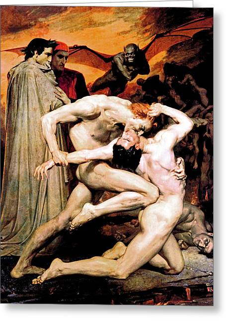French Painter Greeting Cards - Dante and Virgil in Hell Greeting Card by The  Vault - Jennifer Rondinelli Reilly