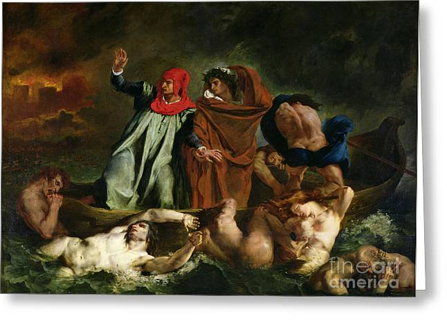 Victor Greeting Cards - Dante and Virgil in the Underworld Greeting Card by Ferdinand Victor Eugene Delacroix