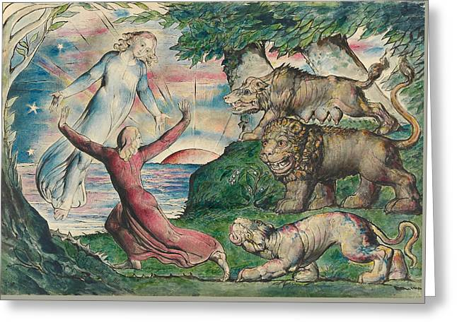 Dante Running From The Three Beasts Greeting Card by William Blake