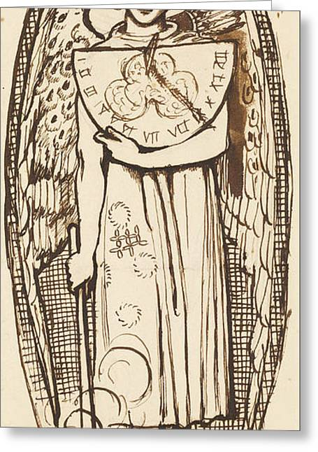 Dantis Amor -  Study Of Love With A Sundial And Torch  Greeting Card by Dante Gabriel Rossetti