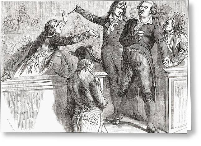 Convention Drawings Greeting Cards - Danton And Camille Desmoulins Defend Greeting Card by Vintage Design Pics