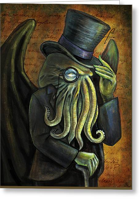 Fiendish Greeting Cards - Dapper Cthulhu Greeting Card by Diana Levin
