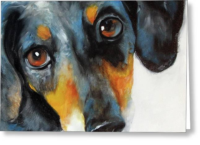Doxie Greeting Cards - Dapple Doxie Greeting Card by Marcia Baldwin