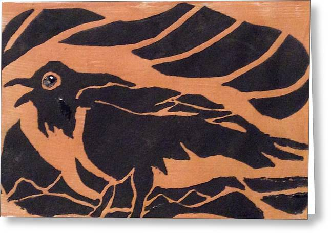 Darcy's Crow  Greeting Card by Erika Chamberlin