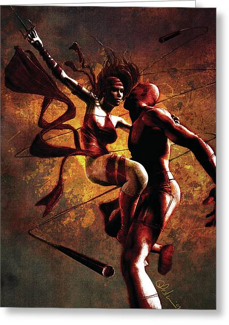 Daredevil Greeting Cards - Daredevil and Elektra Greeting Card by Gary Deslauriers