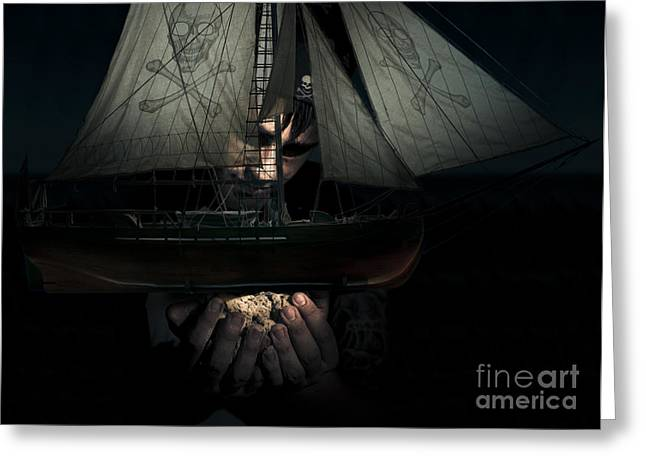 Pirate Ship Greeting Cards - Dark Adventure Greeting Card by Ryan Jorgensen