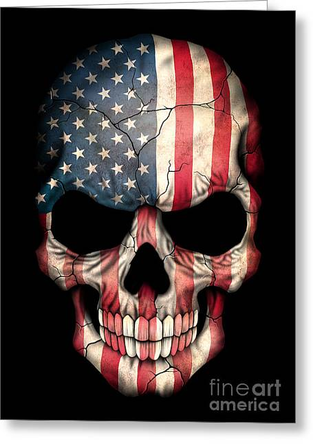 Flag Of The United States Greeting Cards - Dark American Flag Skull Greeting Card by Jeff Bartels