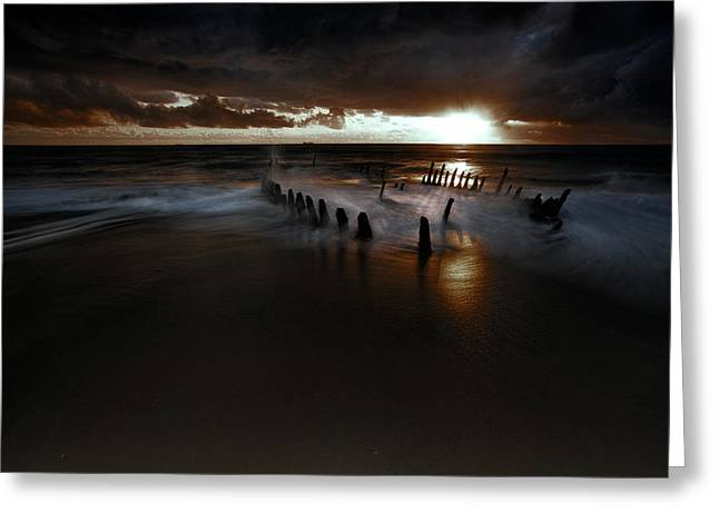 Ocean Landscape Greeting Cards - Dark And Moody Greeting Card by Mel Brackstone