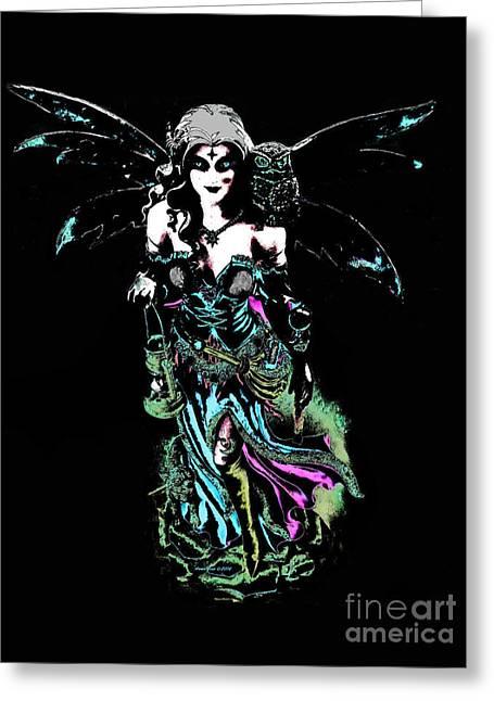 Dark Angel Of The Night Greeting Card by Annie Zeno