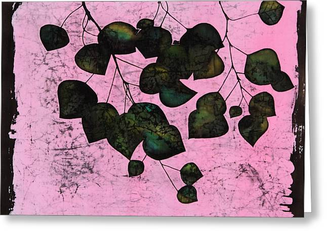 Trees Tapestries - Textiles Greeting Cards - Dark Aspen In Pink Greeting Card by Carolyn Doe