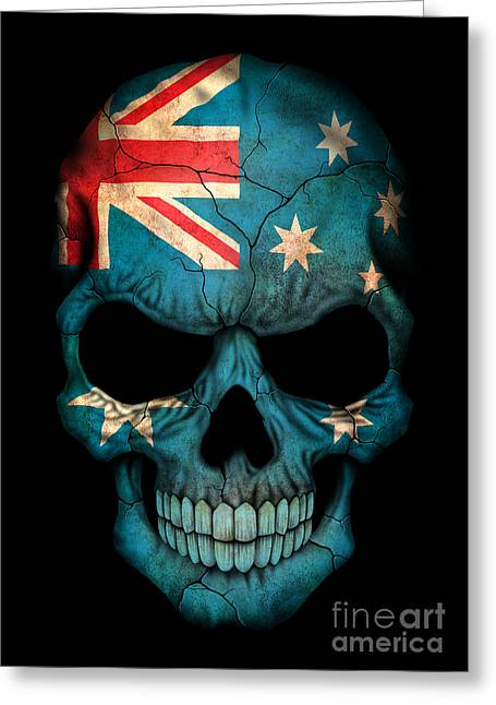 Human Skull Greeting Cards - Dark Australian Flag Skull Greeting Card by Jeff Bartels