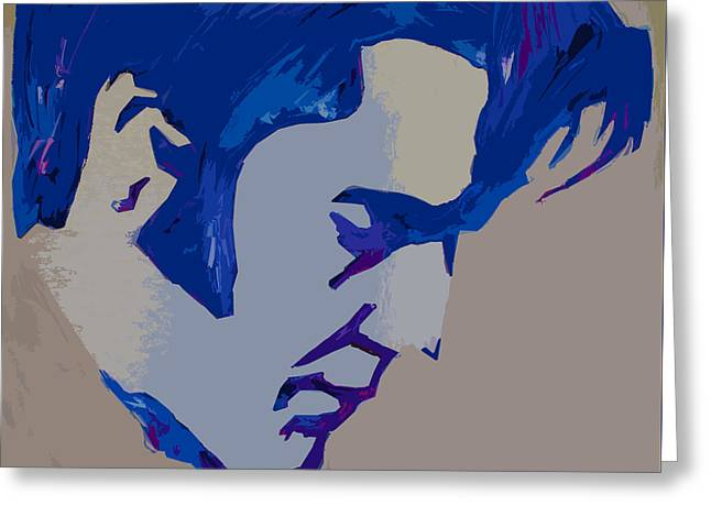 Dark Blue Elvis Greeting Card by Robert Margetts