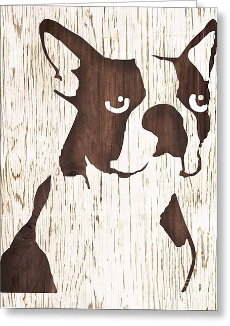 Boston Terrier Framed Prints Greeting Cards - Dark Boston Greeting Card by B Campbell