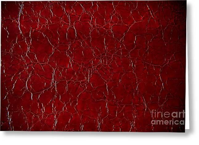Dark Claret Puckered Leather Abstract  Greeting Card by Arletta Cwalina