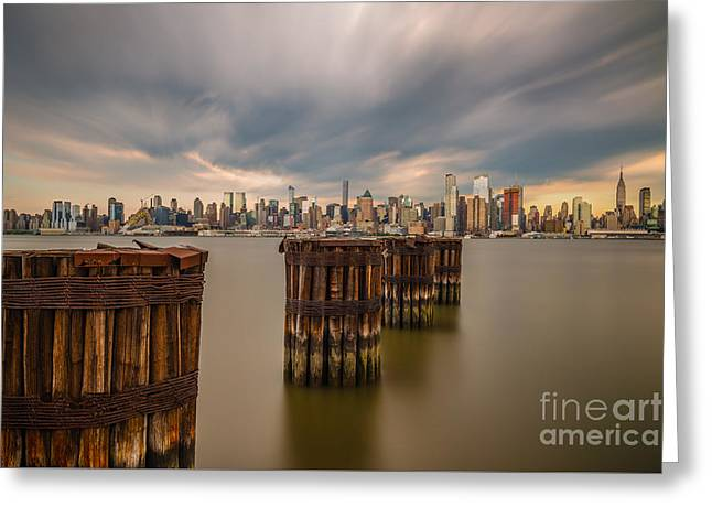 Dark Clouds Over Nyc Greeting Card by Abe Pacana