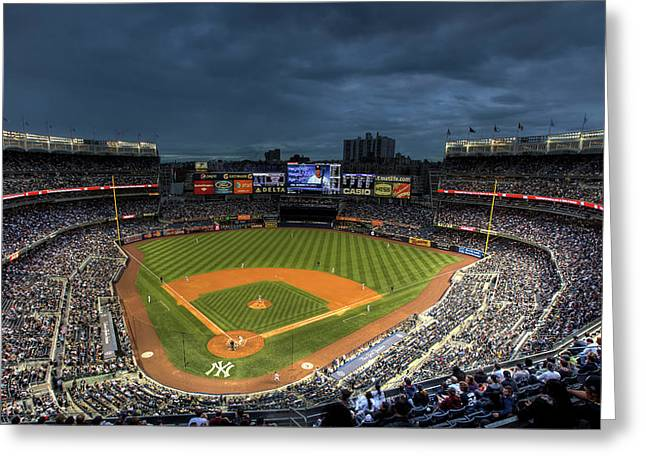 Cities Greeting Cards - Dark Clouds over Yankee Stadium  Greeting Card by Shawn Everhart