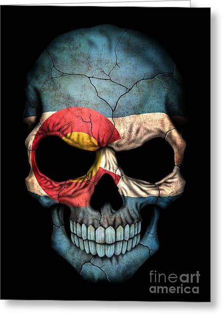 Colorado Flag Greeting Cards - Dark Colorado Flag Skull Greeting Card by Jeff Bartels