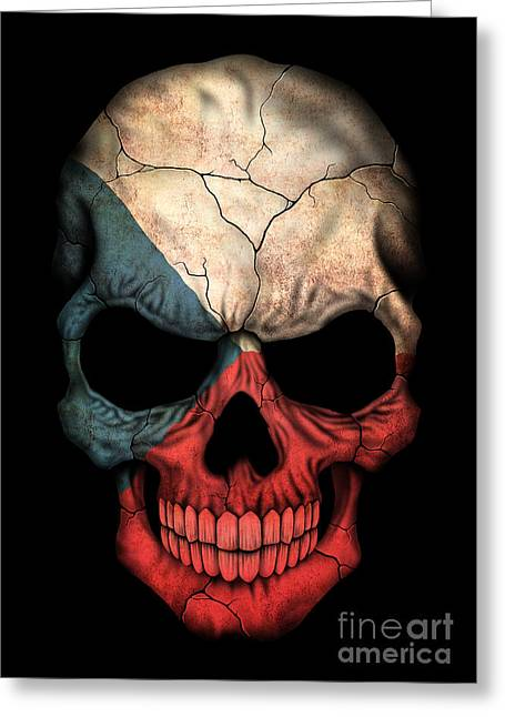 Dark Czech Flag Skull Greeting Card by Jeff Bartels