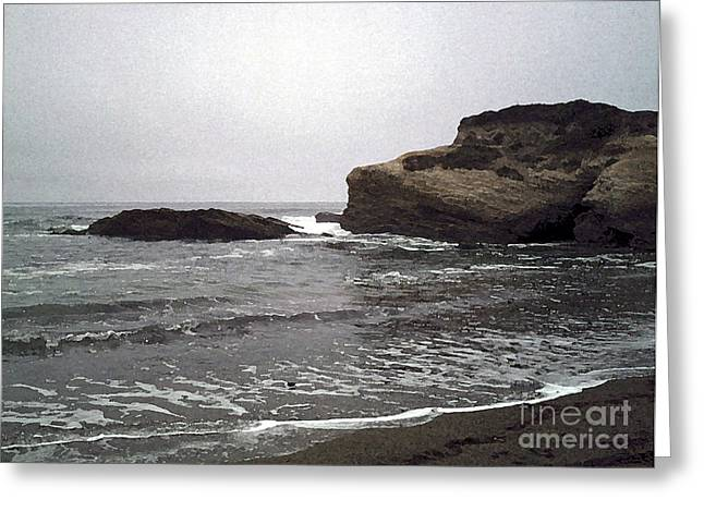Dark Day At The Beach Greeting Card by Methune Hively