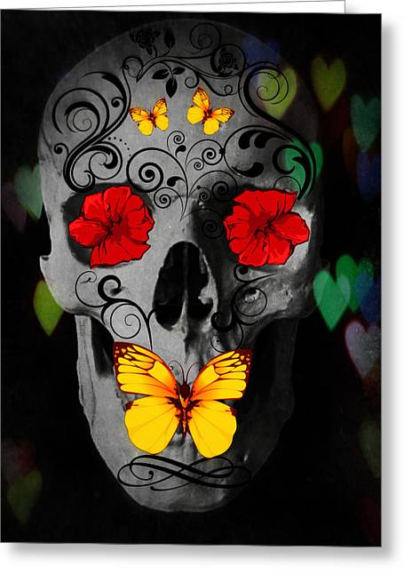 Flower Design Greeting Cards - Dark Day Of Dead Design Greeting Card by Heather Joyce Morrill