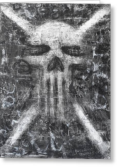 Alternative Skull Greeting Cards - Dark Departure Greeting Card by Roseanne Jones