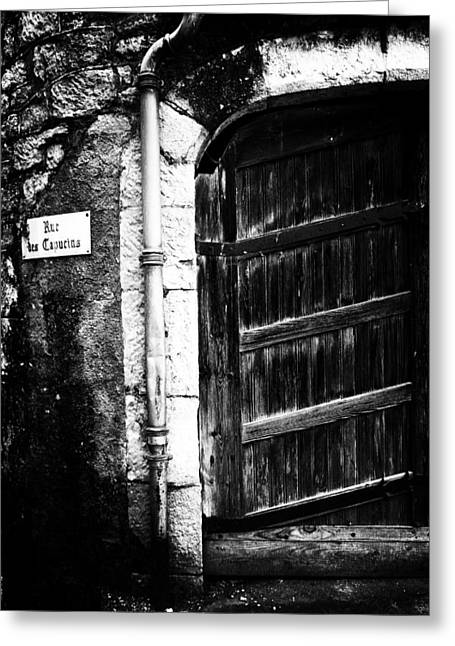 French Doors Greeting Cards - Dark Door Greeting Card by Georgia Fowler