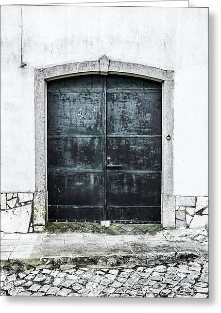 Wooden Building Greeting Cards - Dark Door With No Number Greeting Card by Marco Oliveira