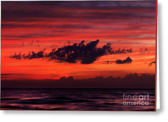 Storm Clouds; Sunset; Twilight; Water Greeting Cards - Dark dramatic clouds backlit by beautiful red sunset sky Greeting Card by Oleksiy Maksymenko
