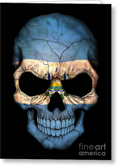 El Salvador Greeting Cards - Dark El Salvador Flag Skull Greeting Card by Jeff Bartels