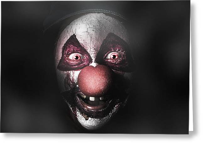 Scary Clown Greeting Cards - Dark evil clown face with scary joker smile Greeting Card by Ryan Jorgensen
