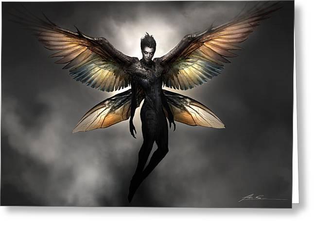Dark Fairy Greeting Card by Alex Ruiz