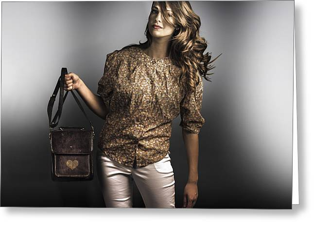 Hair Accessory Greeting Cards - Dark fashion style with fashionable bag accessory Greeting Card by Ryan Jorgensen