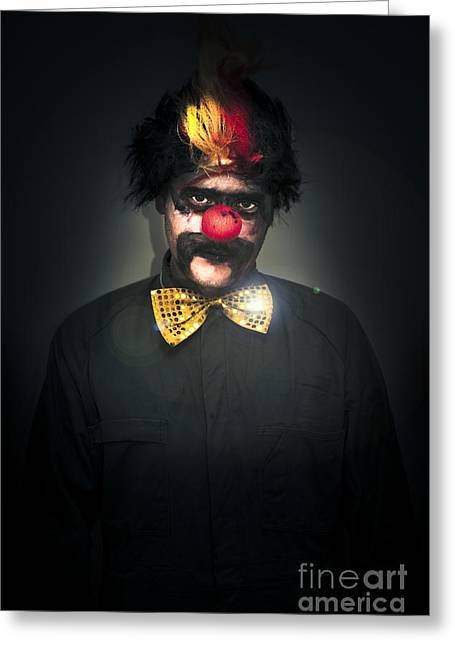 Pretender Greeting Cards - Dark Foreboding Clown Greeting Card by Ryan Jorgensen