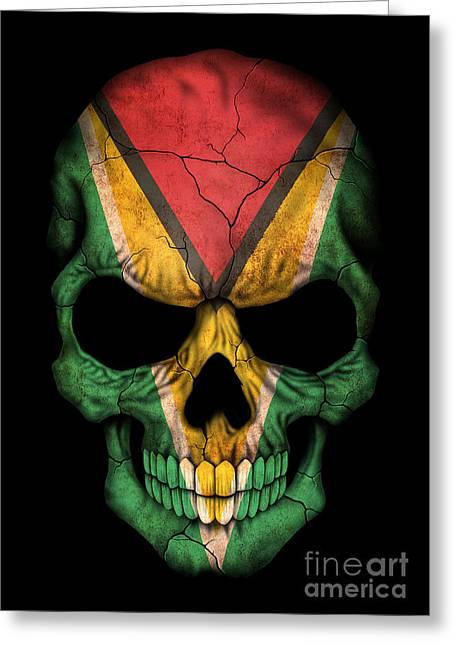 Guyana Greeting Cards - Dark Guyanese Flag Skull Greeting Card by Jeff Bartels