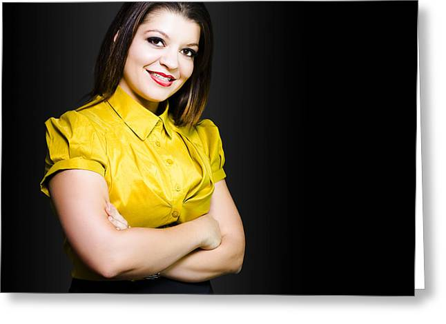 Positive Attitude Greeting Cards - Dark haired business beauty in gold blouse Greeting Card by Ryan Jorgensen