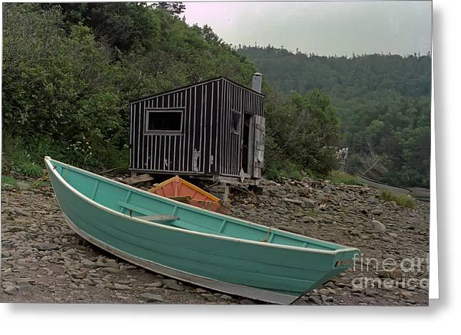 Thomas Marchessault Greeting Cards - Dark Harbour Fisherman Shack and Boat Greeting Card by Thomas Marchessault