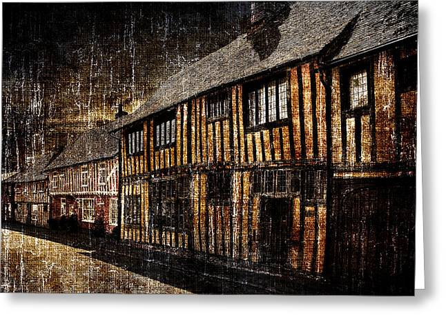 Merging Greeting Cards - Dark houses Greeting Card by Martin  Fry