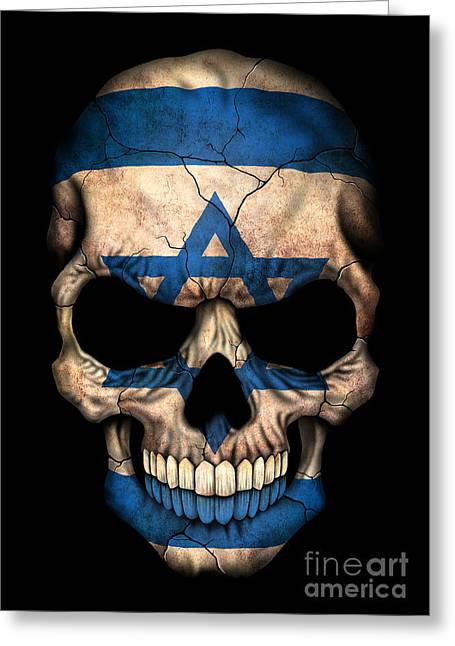 Israeli Digital Greeting Cards - Dark Israeli Flag Skull Greeting Card by Jeff Bartels